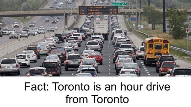 Motor vehicle - Late shore TO YONGE ST 25 MIN VIA GARDINER 21 MIN LAKE SHORE VIA SCHOOL SUS Fact: Toronto is an hour drive from Toronto