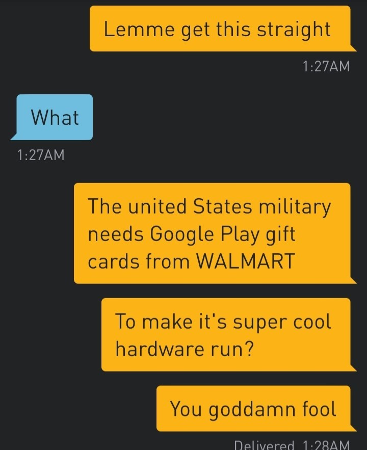 Text - Lemme get this straight 1:27AM What 1:27AM The united States military needs Google Play gift cards from WALMART To make it's super cool hardware run? You goddamn fool Delivered 1:28AM.