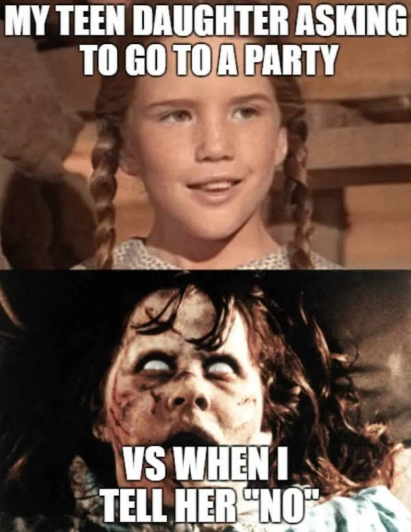 Internet meme - MY TEEN DAUGHTER ASKING TO GO TOA PARTY VS WHENI TELL HER NO