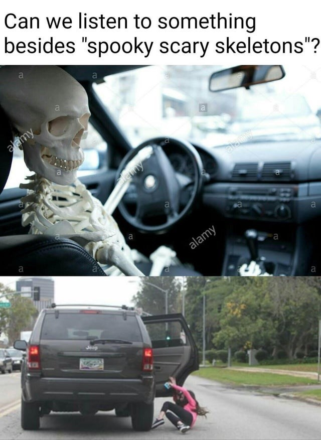 "Vehicle - Can we listen to something besides ""spooky scary skeletons""? a alamy a alemy emy a ва a а alamy а Jeep"