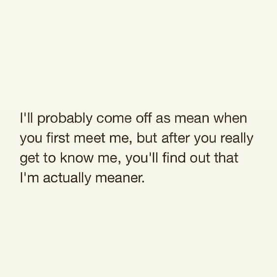 Text - I'll probably come off as mean when you first meet me, but after you really get to know me, you'll find out that I'm actually meaner.