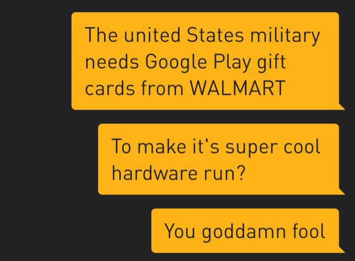 Text - The united States military needs Google Play gift cards from WALMART To make it's super cool hardware run? You goddamn fool