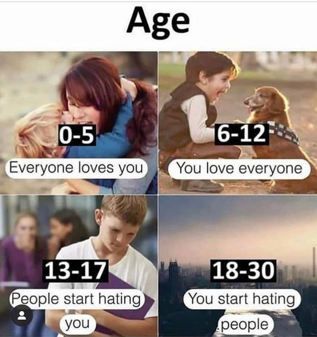 Product - Age 6-12 0-5 Everyone loves you You love everyone 13-17 18-30 You start hating People start hating people you