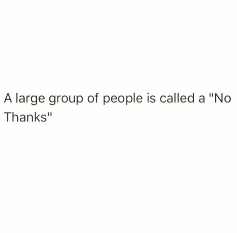 """Text - A large group of people is called a """"No Thanks"""""""