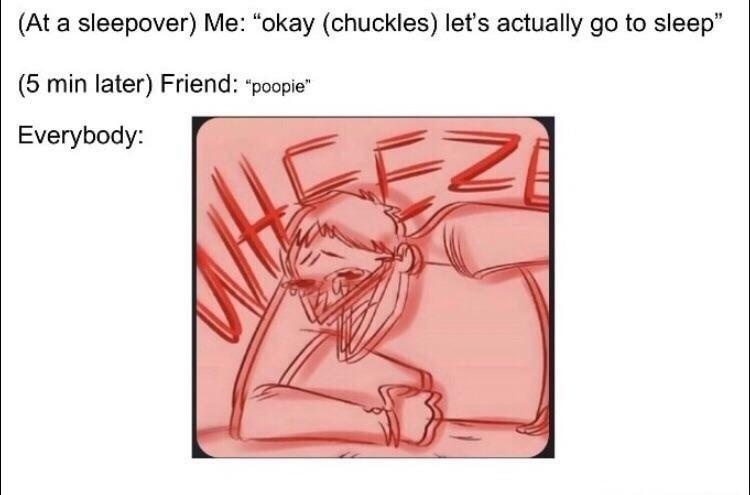 "Text - (At a sleepover) Me: ""okay (chuckles) let's actually go to sleep"" (5 min later) Friend: ""poopie Everybody: EZA"