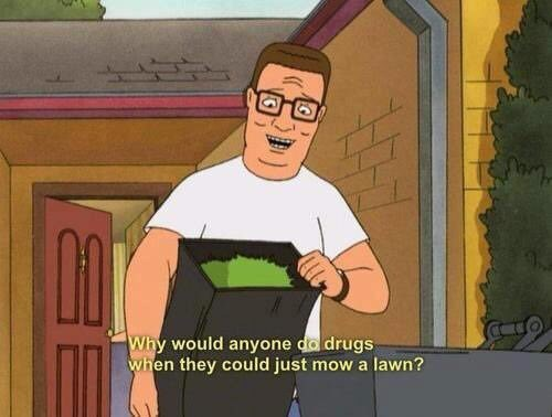 Cartoon - Why would anyone do drugs when they could just mow a lawn?