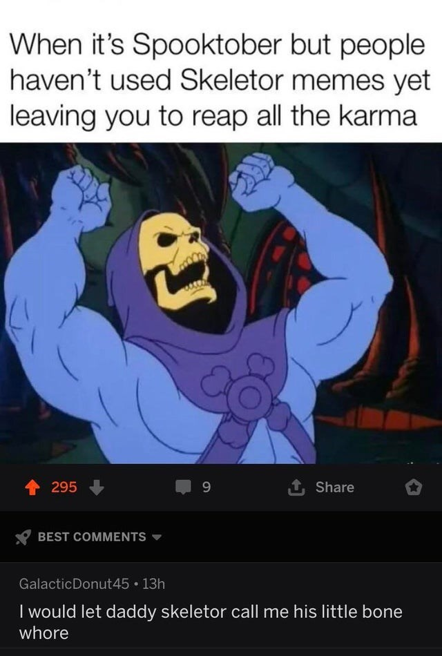 Text - When it's Spooktober but people haven't used Skeletor memes yet leaving you to reap all the karma 295 Share BEST COMMENTS GalacticDonut45 13h I would let daddy skeletor call me his little bone whore