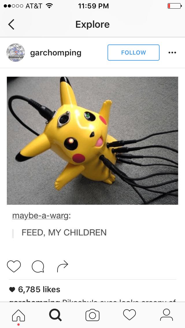 Yellow - ooo AT&T 11:59 PM < Explore garchomping FOLLOW GARGHOMAING maybe-a-warg: FEED, MY CHILDREN 6,785 likes nilaah.l u. 0
