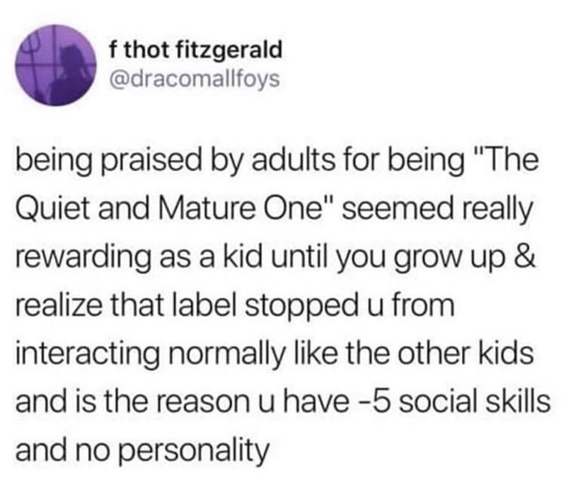 """Text - f thot fitzgerald @dracomallfoys being praised by adults for being """"The Quiet and Mature One"""" seemed really rewarding as a kid until you grow up & realize that label stopped u from interacting normally like the other kids and is the reason u have -5 social skills and no personality"""