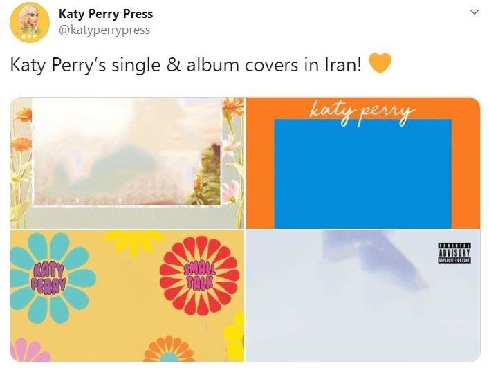 Text - Katy Perry Press @katyperrypress Katy Perry's single & album covers in Iran! katy perry PARERTA ADVISORY PLICIT CONTINT KATY PERRY TALK