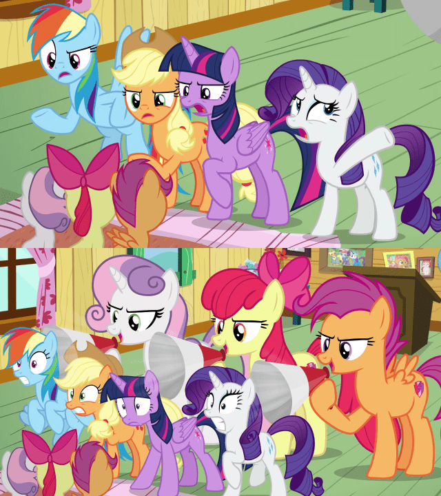 applejack Sweetie Belle twilight sparkle growing up is hard to do apple bloom screencap rarity Scootaloo rainbow dash - 9368084480