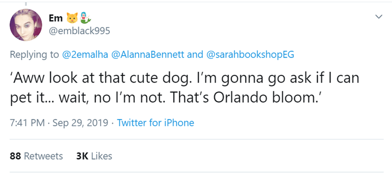 Text - Em @emblack995 Replying to @2emalha @AlannaBennett and @sarahbookshopEG 'Aww look at that cute dog. I'm gonna go ask if I can pet it... wait, no I'm not. That's Orlando bloom. 7:41 PM Sep 29, 2019 Twitter for iPhone 3K Likes 88 Retweets