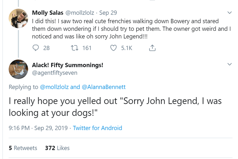 """Text - Molly Salas @mollzlolz Sep 29 I did this! I saw two real cute frenchies walking down Bowery and stared them down wondering if I should try to pet them. The owner got weird and I noticed and was like oh sorry John Legend!!! ti161 28 5.1K Alack! Fifty Summonings! @agentfiftyseven Replying to @mollzlolz and @AlannaBennett I really hope you yelled out """"Sorry John Legend, I was looking at your dogs!"""" 9:16 PM Sep 29, 2019 Twitter for Android 372 Likes 5 Retweets"""