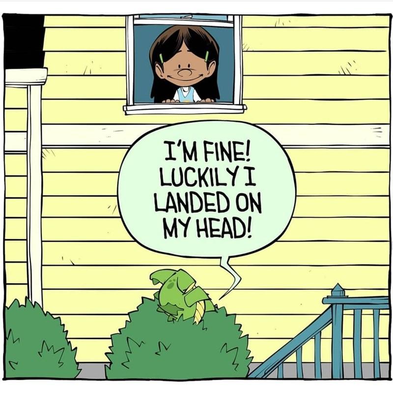 Cartoon - I'M FINE! LUCKILYI LANDED ON MY HEAD!