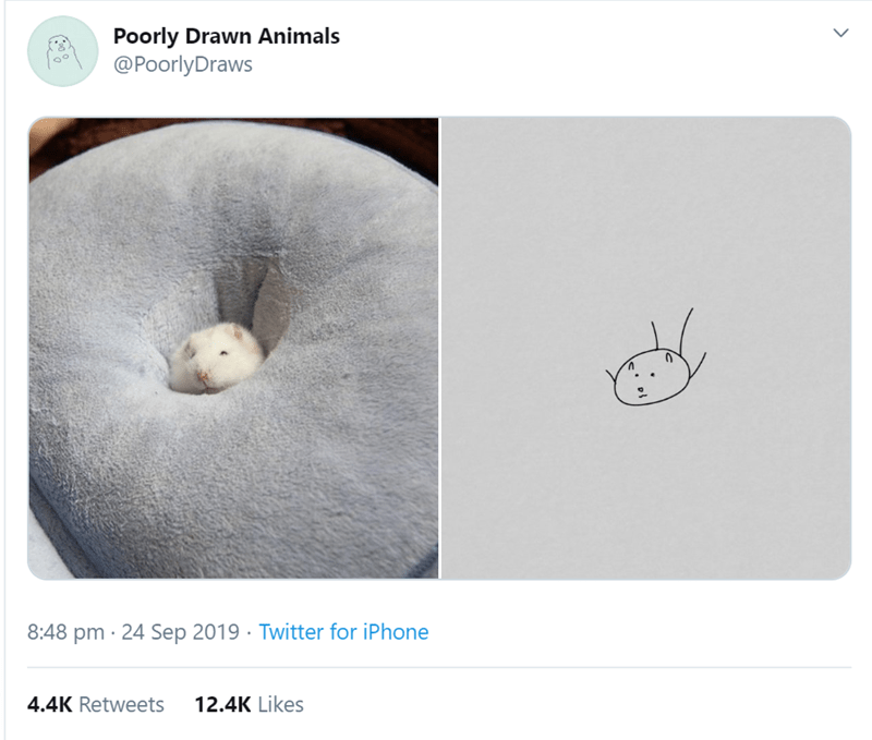 Text - Poorly Drawn Animals @PoorlyDraws 8:48 pm 24 Sep 2019 Twitter for iPhone 4.4K Retweets 12.4K Likes