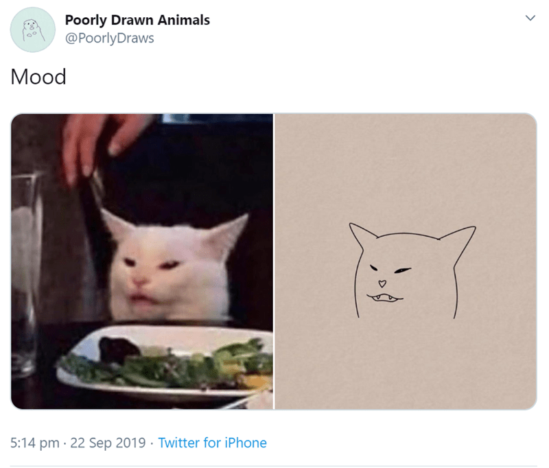 Cat - Poorly Drawn Animals @PoorlyDraws Mood 5:14 pm 22 Sep 2019 Twitter for iPhone