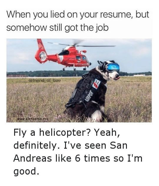 Vehicle - When you lied on your resume, but somehow still got the job @friend of bae Fly a helicopter? Yeah, definitely. I've seen San Andreas like 6 times so I'm good 4IRPOR F