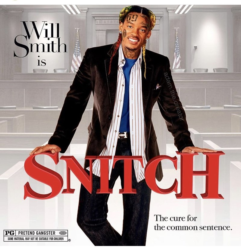 Suit - Will Smith is SNTCH The cure for the common sentence PG PRETEND GANGSTER SOME MATERIAL MAY NOT BE SUITABLE FOR CHILDREN adam.the.c