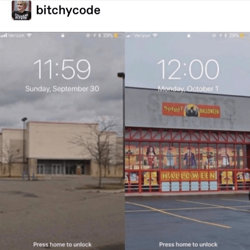 Funny meme about how abandoned businesses turn into Spirit Halloween