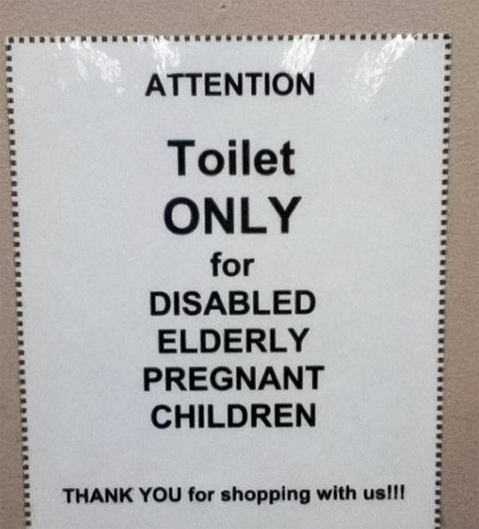 Text - ATTENTION Toilet ONLY for DISABLED ELDERLY PREGNANT CHILDREN THANK YOU for shopping with us!!!