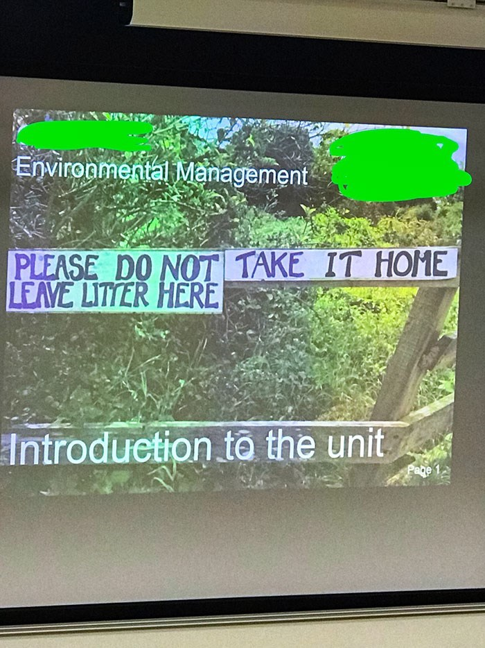 Green - Environmental Management PLEASE DO NOT TAKE IT HOME LEAVE LITTER HERE Introduetion to the unit Page
