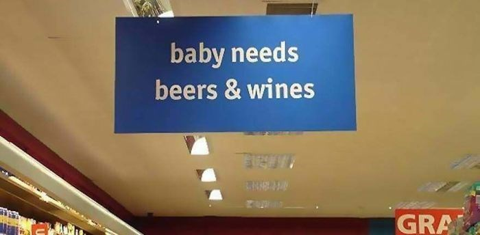 Signage - baby needs beers & wines GRA