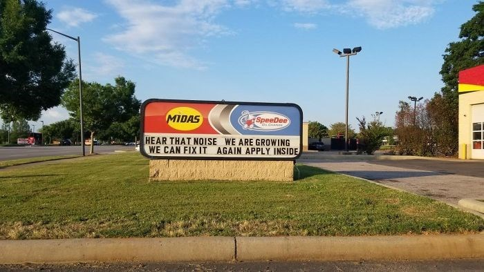 Advertising - MIDAS SpeeDee HEAR THAT NOISE WE ARE GROWING WE CAN FIX IT AGAIN APPLY INSIDE