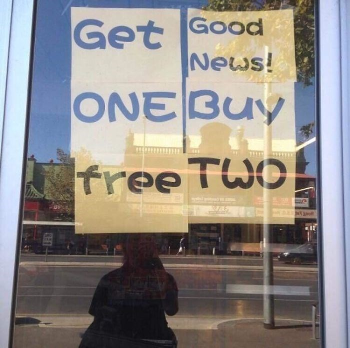 Text - Get Good News! ONE BUY Tree Two