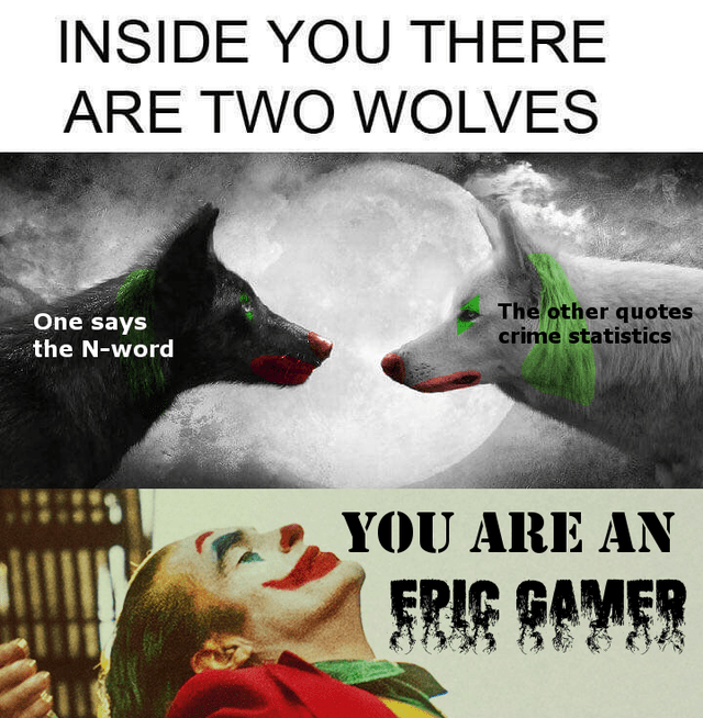 Photo caption - INSIDE YOU THERE ARE TWO WOLVES The other quotes crime statistics One says the N-word YOU ARE AN GАМЕR GAMER