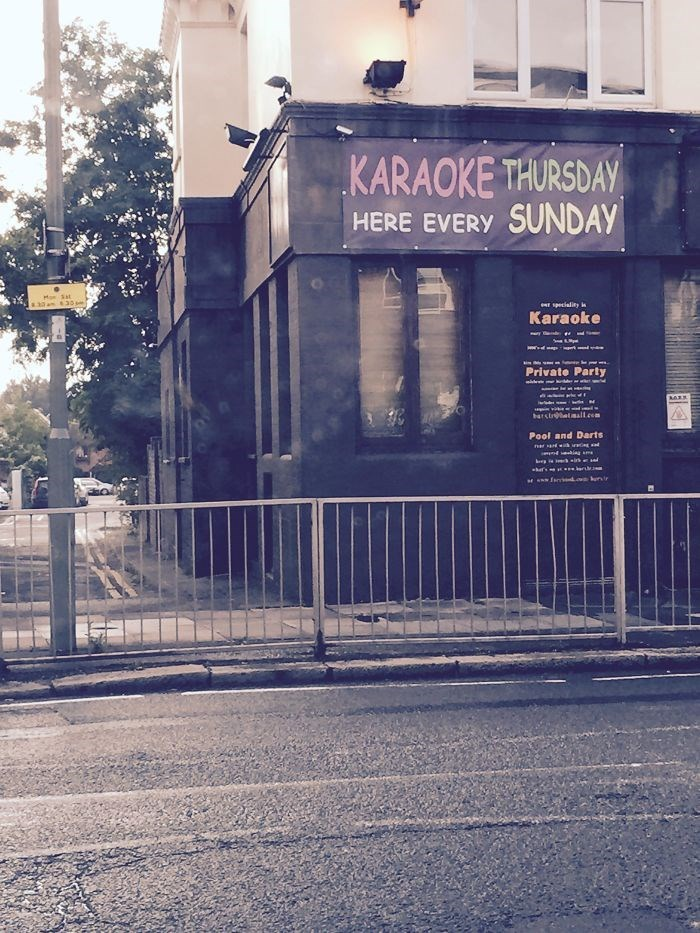Text - KARAOKE THURSDAY HERE EVERY SUNDAY Mo Sat speciality in Karaoke Private Party barstetmall.com Pool and Darts d hig m