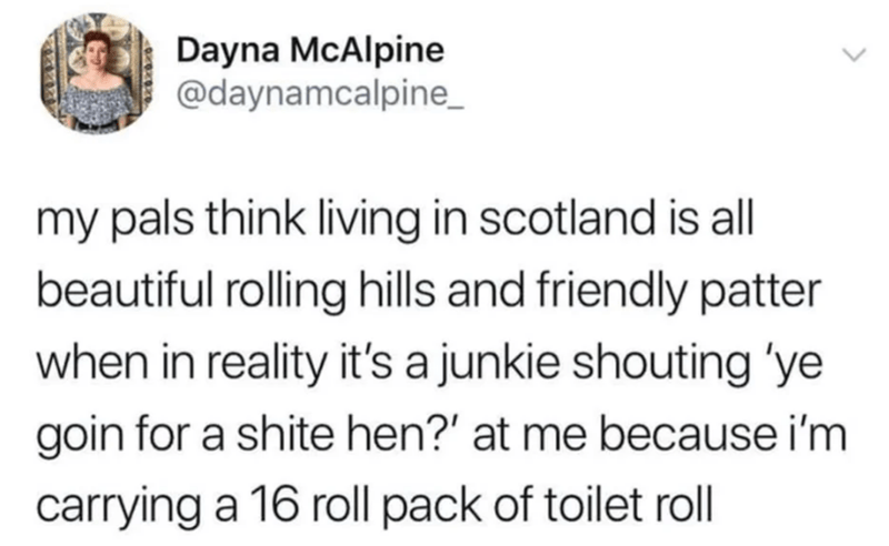 Text - Dayna McAlpine @daynamcalpine my pals think living in scotland is all beautiful rolling hills and friendly patter when in reality it's a junkie shouting 'ye goin for a shite hen?' at me because i'm carrying a 16 roll pack of toilet roll