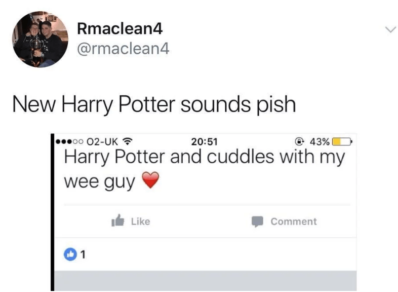 Text - Rmaclean4 @rmaclean4 New Harry Potter sounds pish ..oo 02-UK @ 43% 20:51 Harry Potter and cuddles with my wee guy Like Comment