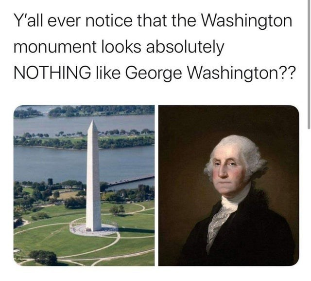 Text - Y'all ever notice that the Washington monument looks absolutely NOTHING like George Washington??