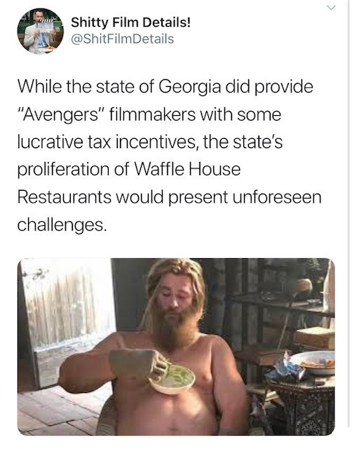 """Text - Shitty Film Details! @ShitFilmDetails While the state of Georgia did provide """"Avengers"""" filmmakers with some lucrative tax incentives, the state's proliferation of Waffle House Restaurants would present unforeseen challenges."""