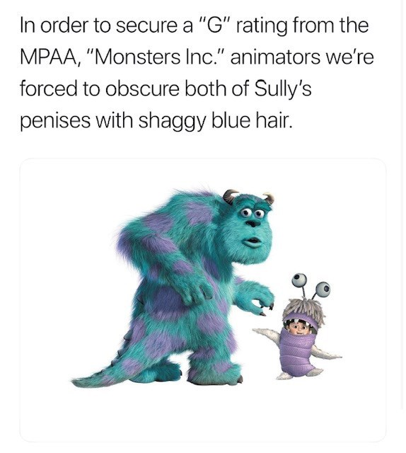 """Cartoon - In order to secure a """"G"""" rating from the MPAA, """"Monsters Inc."""" animators we're forced to obscure both of Sully's penises with shaggy blue hair."""