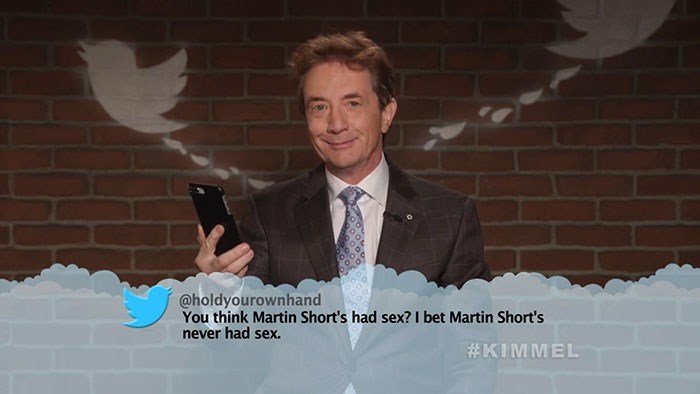 Photo caption - @holdyourownhand You think Martin Short's had sex? I bet Martin Short's never had sex. #KIMMEL