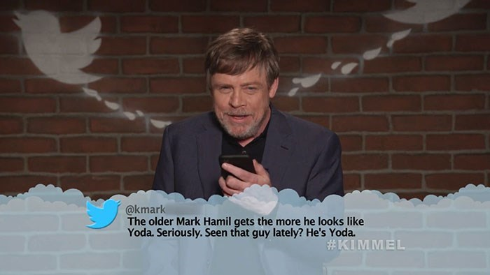 Text - @kmark The older Mark Hamil gets the more he looks like Yoda. Seriously. Seen that guy lately? He's Yoda. #KIMMEL