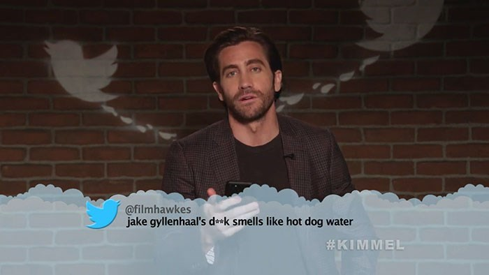 Photo caption - @filmhawkes jake gyllenhaal's dask smells like hot dog water #KIMMEL