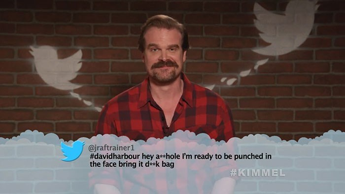 Moustache - @jraftrainer1 #davidharbour hey ahole I'm ready to be punched in the face bring it dk bag #KIMMEL