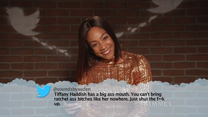 Smile - @soundsbyauden Tiffany Haddish has a big ass mouth. You can't bring ratchet ass bitches like her nowhere. Just shut the fk IMMEL up.