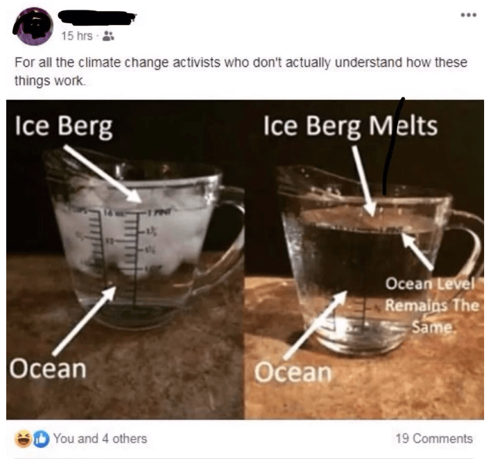 Product - 15 hrs For all the climate change activists who don't actually understand how these things work |Ice Berg Ice Berg Melts Ocean Level Remains The Same Ocean Ocean 19 Comments You and 4 others