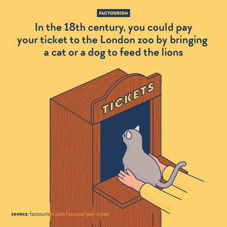 Cartoon - FACTOURISM In the 18th century, you could pay your ticket to the London zoo by bringing a cat or a dog to feed the lions TICKETS SOURCE: factourism.com/source/pet-ticket