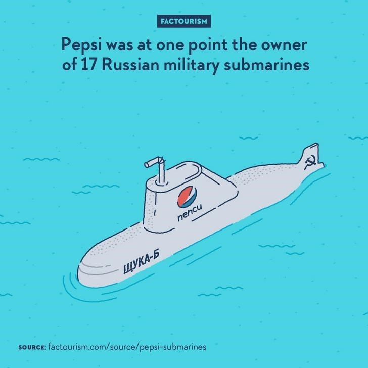 Water transportation - FACTOURISM Pepsi was of 17 Russian military submarines at one point the owner nehcu ЩУКА-5 SOURCE: factourism.com/source/pepsi-submarines