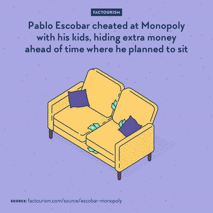 Furniture - FACTOURISM Pablo Escobar cheated at Monopoly with his kids, hiding extra money ahead of time where he planned to sit SOURCE: factourism.com/source/escobar-monopoly