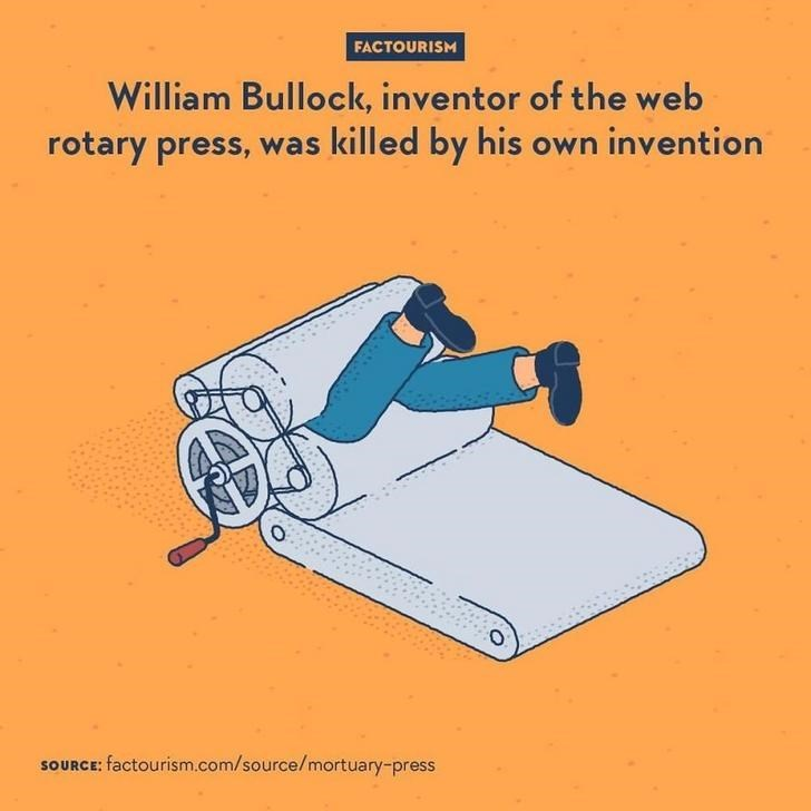 Line - FACTOURISM William Bullock, inventor of the web rotary press, was killed by his own invention SOURCE: factourism.com/source/mortuary-press