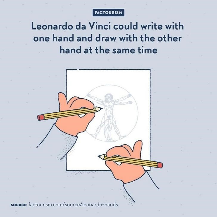 Text - FACTOURISM Leonardo da Vinci could write with one hand and draw with the other hand at the same time SOURCE: factourism.com/source/leonardo-hands