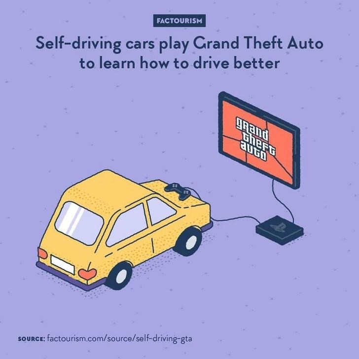 Land vehicle - Self-driving cars play Grand Theft Auto to learn how to drive better FACTOURISM gRand Gheft SOURCE: factourism.com/source/self-driving-gta