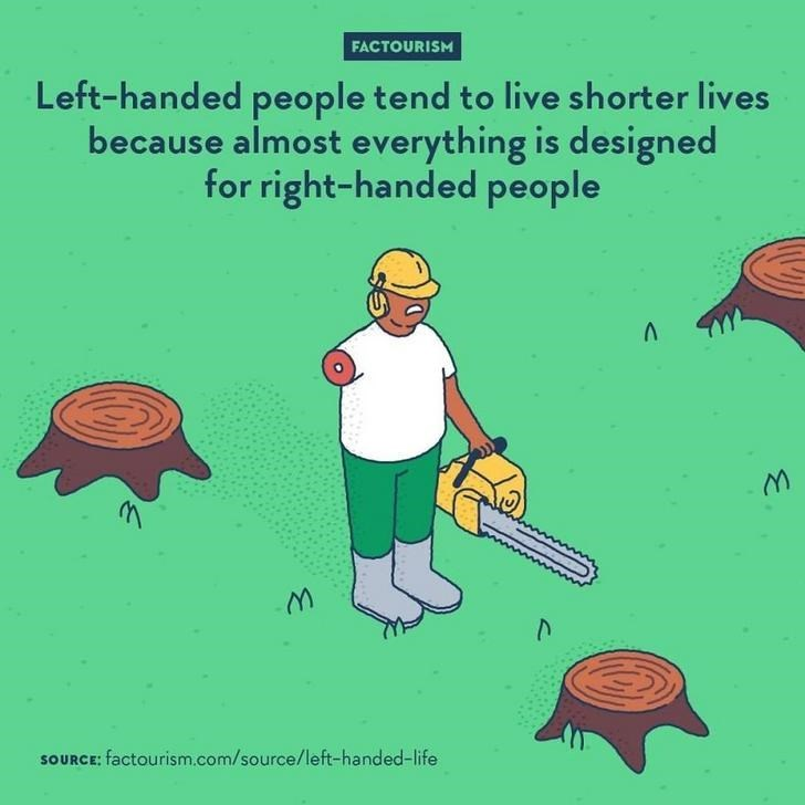 Cartoon - FACTOURISM Left-handed people tend to live shorter lives because almost everything is designed for right-handed people SOURCE: factourism.com/source/left-handed-life