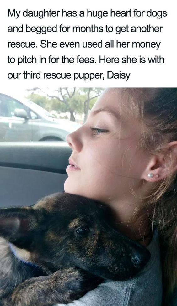 Skin - My daughter has a huge heart for dogs and begged for months to get another rescue. She even used all her money to pitch in for the fees. Here she is with our third rescue pupper, Daisy