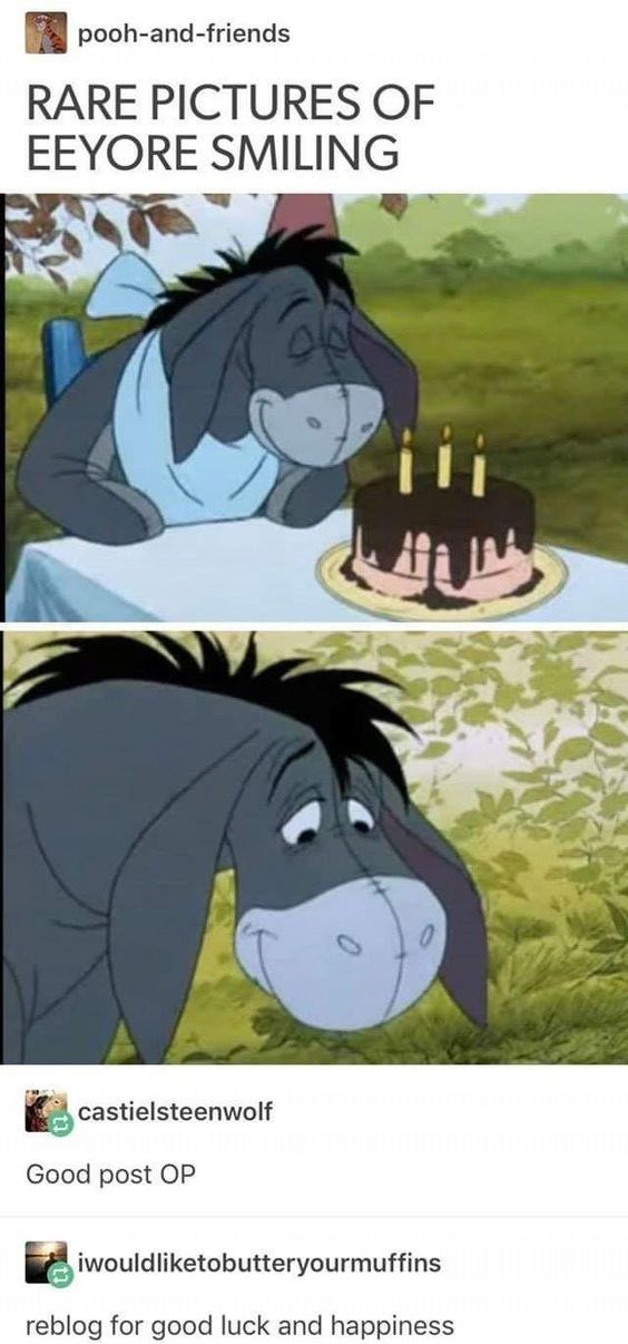 Cartoon - pooh-and-friends RARE PICTURES OF EEYORE SMILING castielsteenwolf Good post OP iwouldliketobutteryourmuffins reblog for good luck and happiness